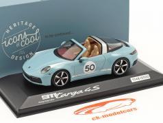 Porsche 911 (992) Targa 4S #50 Heritage Edition meissenblå 1:43 Minichamps