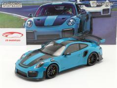 Porsche 911 (991 II) GT2 RS Weissach Package 2018 miami blå / sort fælge 1:18 Minichamps