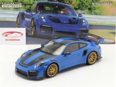 Porsche 911 (991 II) GT2 RS Weissach Package 2018 voodoo blue / golden rims 1:18 Minichamps