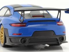 Porsche 911 (991 II) GT2 RS Weissach Package 2018 voodoo blu / d'oro cerchi 1:18 Minichamps