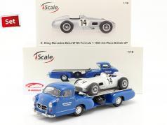 Set: Mercedes-Benz Corrida Carro Transportador Azul maravilha com Mercedes-Benz W196 #14 1:18 iScale