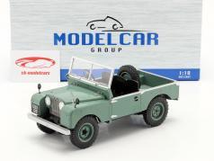 Land Rover Series I RHD uden Cabriolet top Byggeår 1957 lysegrøn 1:18 Model Car Group
