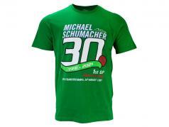 Michael Schumacher T-Shirt 初め 方式 1 GP Spa 1991 緑