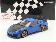Porsche 911 (991 II) GT2 RS Weissach Package 2018 blauw / gouden velgen 1:18 Minichamps