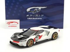 Ford GT Heritage Edition 建設年 2021 #98 白い / 炭素 / 赤 1:18 GT-SPIRIT