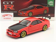Nissan Skyline GT-R (BNR34) year 1999 red 1:18 Greenlight