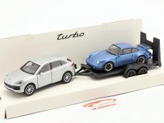 Pullback Set Porsche Cayenne Turbo mit Anhänger und Porsche 911 Turbo 1:32 Welly