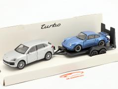 Terugtrekken set Porsche Cayenne Turbo met hanger en Porsche 911 Turbo 1:32 Welly