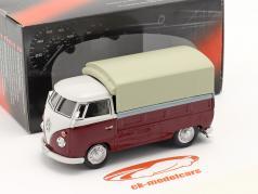 Volkswagen VW T1 Pick Up Com Planos vermelho / bege 1:43 Cararama
