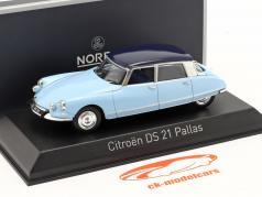 Citroen DS21 Pallas bouwjaar 1967 Monte Carlo blauw / Orient blauw 1:43 Norev