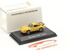 Porsche 911 (964) Turbo 黄色 1:87 Welly