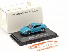 Porsche 911 (991) Carrera S miami 蓝色 1:87 Welly