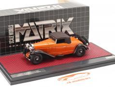 Bugatti Type 46 Convertible De Villars Closed Top 1930 Orange / brun 1:43 Matrix