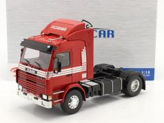 Scania 143 Topline Camion 1987 rouge / argent 1:18 Model Car Group