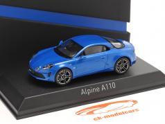 Alpine-Set: Guide Michelin, 充电线 和 高山 A110 2017 蓝色 1:43 Norev