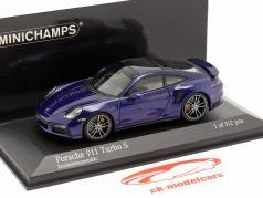 Porsche 911 (992) Turbo S year 2020 gentian blue metallic 1:43 Minichamps
