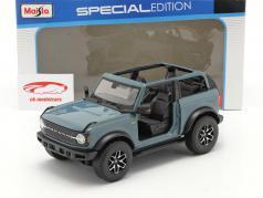 Ford Bronco Badlands (sem Portas) Ano de construção 2021 cinza azul 1:18 Maisto
