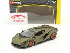 Lamborghini Sian FKP 37 Ano de construção 2019 esteira verde oliva 1:24 Burago