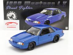 Ford Mustang 5.0 LX Street Fighter 1990 azul metálico 1:18 GMP