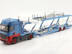 definir Mercedes-Benz Actros com Lohr Transportador de carro Mosolf Azul claro 1:18 NZG