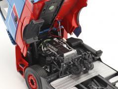 Set Mercedes-Benz Actros mit Lohr Autotransporter Mosolf hellblau 1:18 NZG