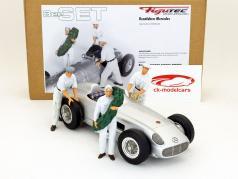 Mercedes course voiture chauffeur et 2 mécanique Figure ensemble 1:18 Figutec Figures