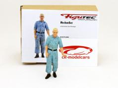 Auto Union mechanic figure shoves the race car 1:18 Figutec Figures