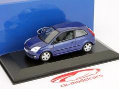 Ford Fiesta 3 portas Ano 2001 azul metálico 1:43 Minichamps