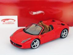 Ferrari 458 Italia Spider Year 2011 red 1:18 HotWheels Foundation