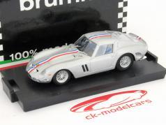Ferrari 250 GTO construído em 1963 de prata com listras coloridas 1:43 Brumm
