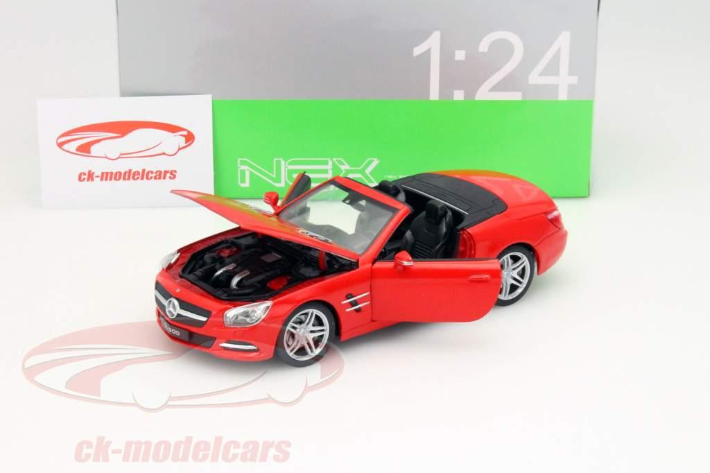 Mercedes-Benz SL 500 Conversível Ano 2012 vermelho 1:24 Welly