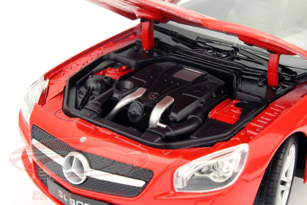 Mercedes-Benz SL 500 Convertible Year 2012 red 1:24 Welly