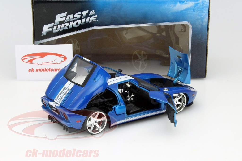 Ford GT out the Movie Fast and Furious 7 2015 blue / white 1:24 Jada Toys