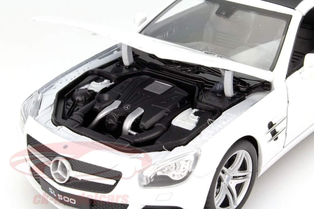 Mercedes-Benz SL 500 år 2012 hvid 1:24 Welly