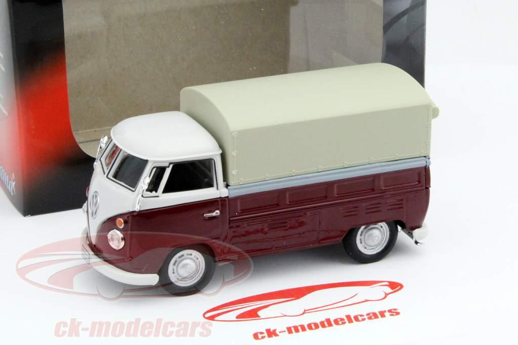 Volkswagen VW T1 Pick Up Con Piani rosso / beige 1:43 Cararama
