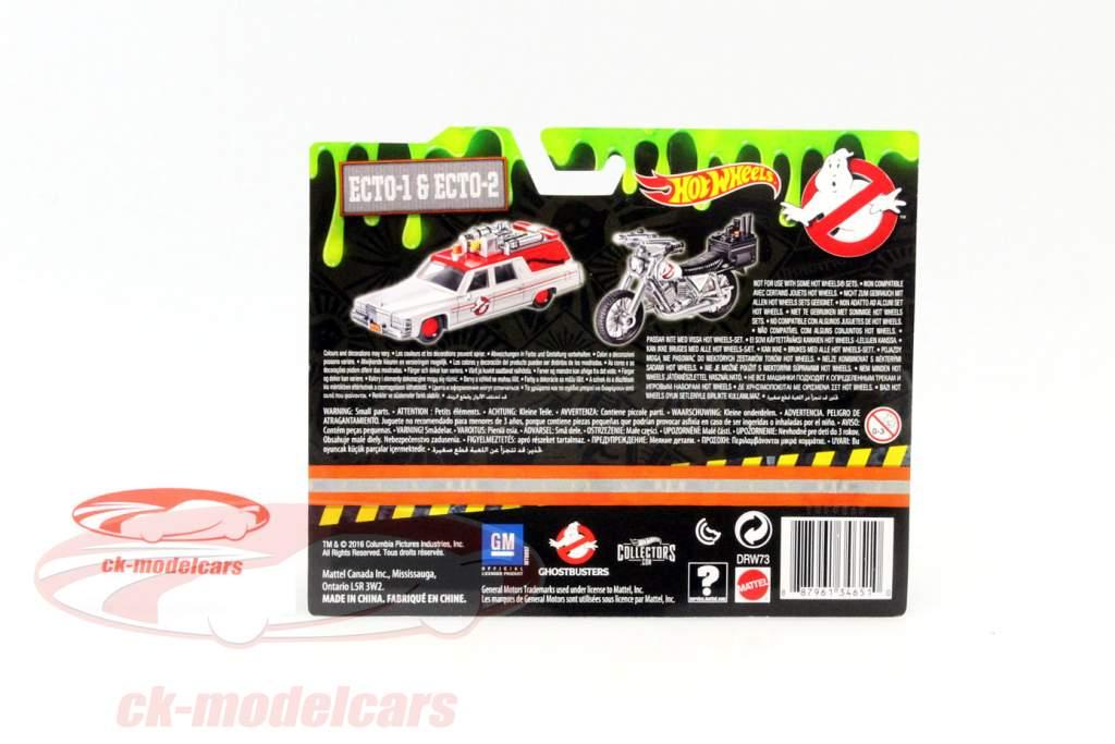 2-Car Set Ghostbusters Ecto-1 auto e Ecto-2 bicicletta bianco 1:64 HotWheels