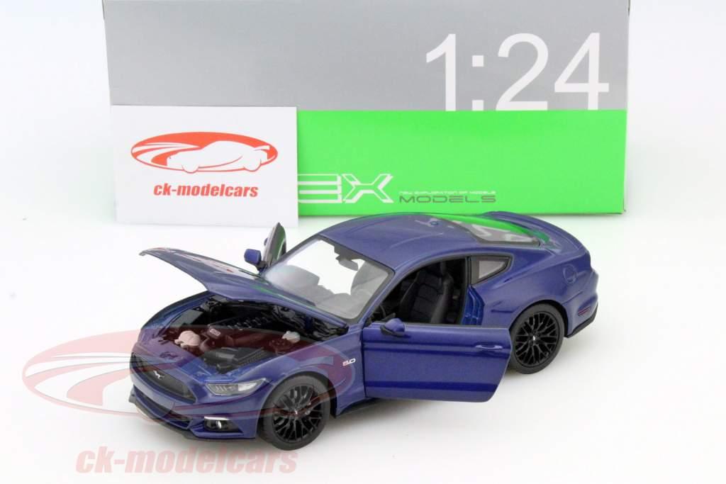 Ford Mustang GT année 2015 bleu 1:24 Welly
