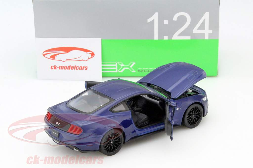 Ford Mustang GT ano 2015 azul 1:24 Welly