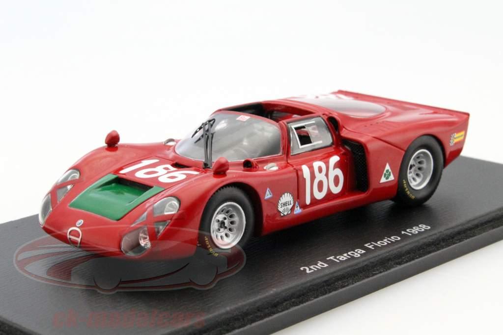 Alfa Romeo T33/2 #186 2 ° Targa Florio 1968 Giunti, Galli 1:43 Spark