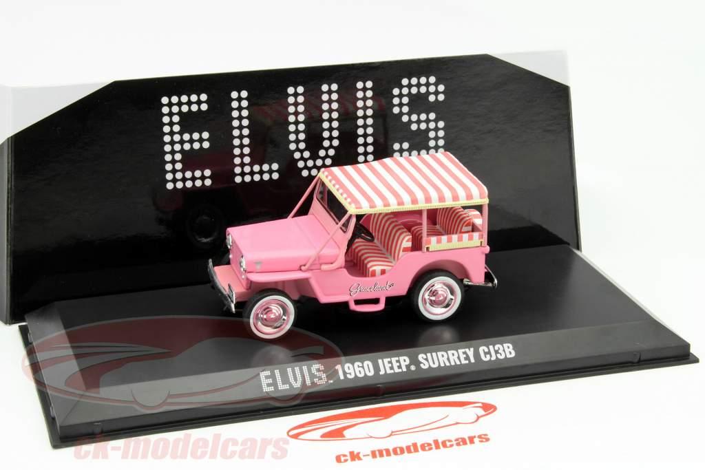 Jeep Surrey CJ3B Elvis jaar 1960 pink 1:43 Greenlight