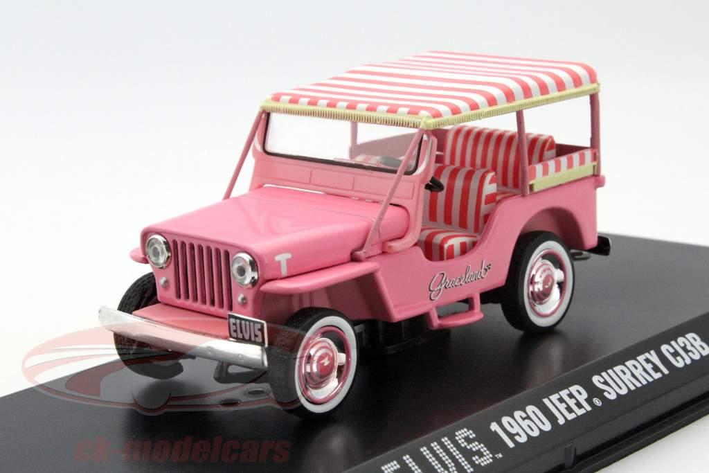 Jeep Surrey CJ3B Elvis år 1960 pink 1:43 Greenlight