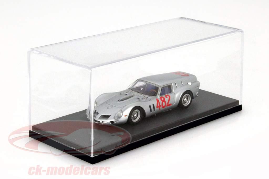 BBR hoog acryl vitrine met grijs grond voor modelauto's in de schaal 1:43