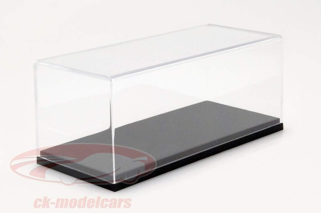 BBR høj akryl udstillingsvindue med grå jorden for modelbiler i skala 1:43