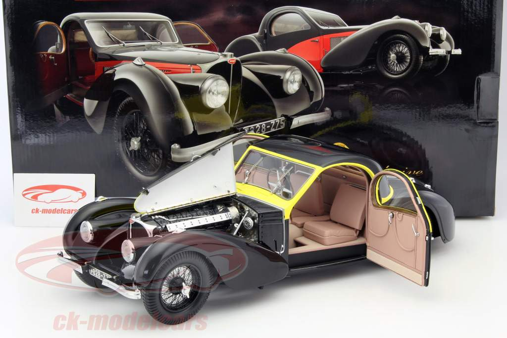 Bugatti Atalante Type 57 SC Baujahr 1937 schwarz / gelb 1:12 Bauer
