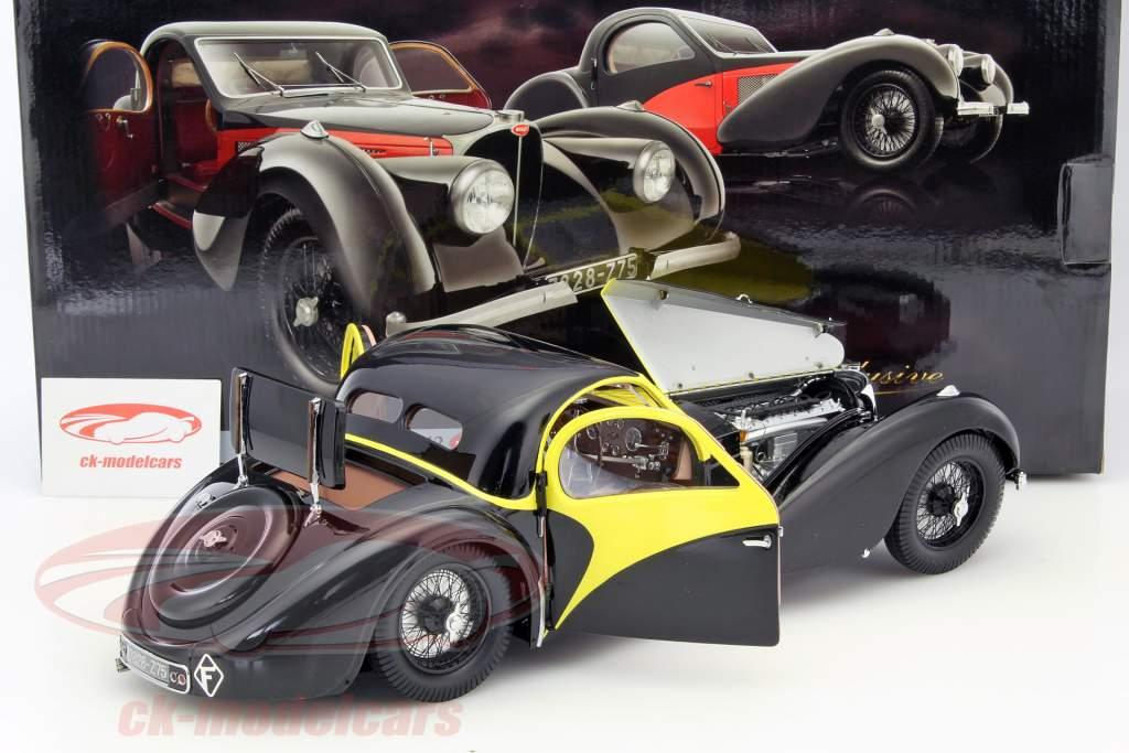 Bugatti Atalante Type 57 SC año 1937 negro / amarillo 1:12 Bauer