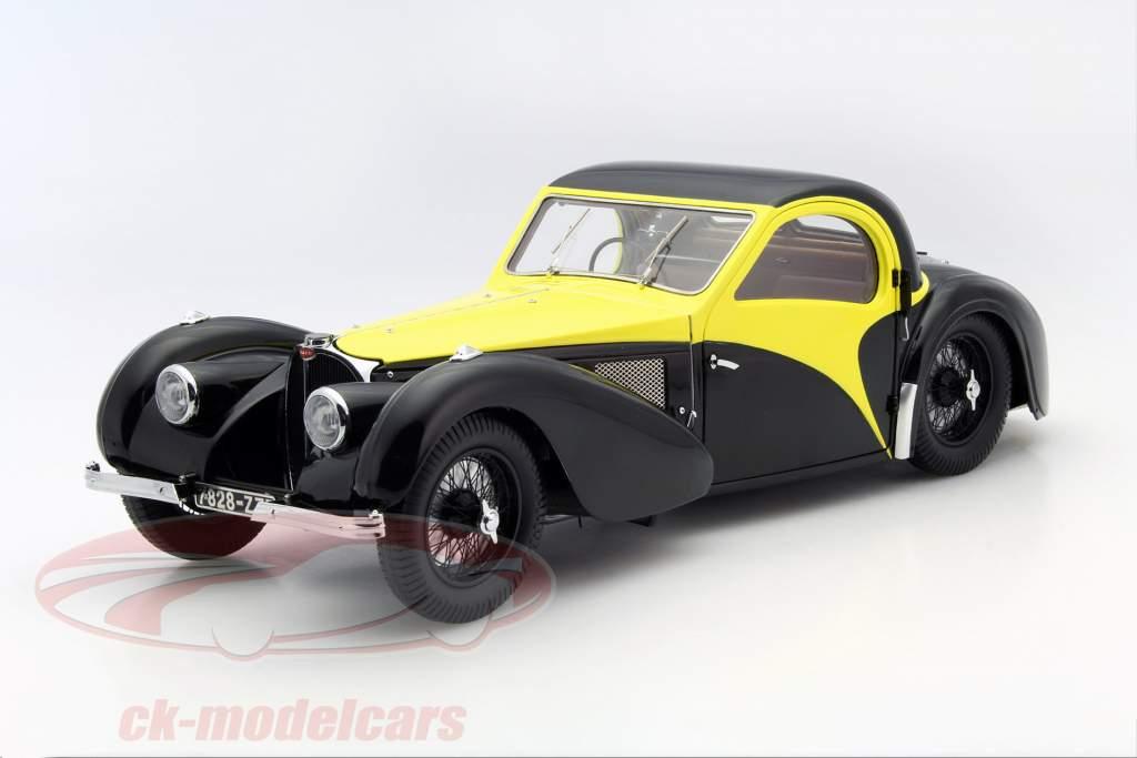 Bugatti Atalante Type 57 SC ano 1937 preto / amarelo 1:12 Bauer