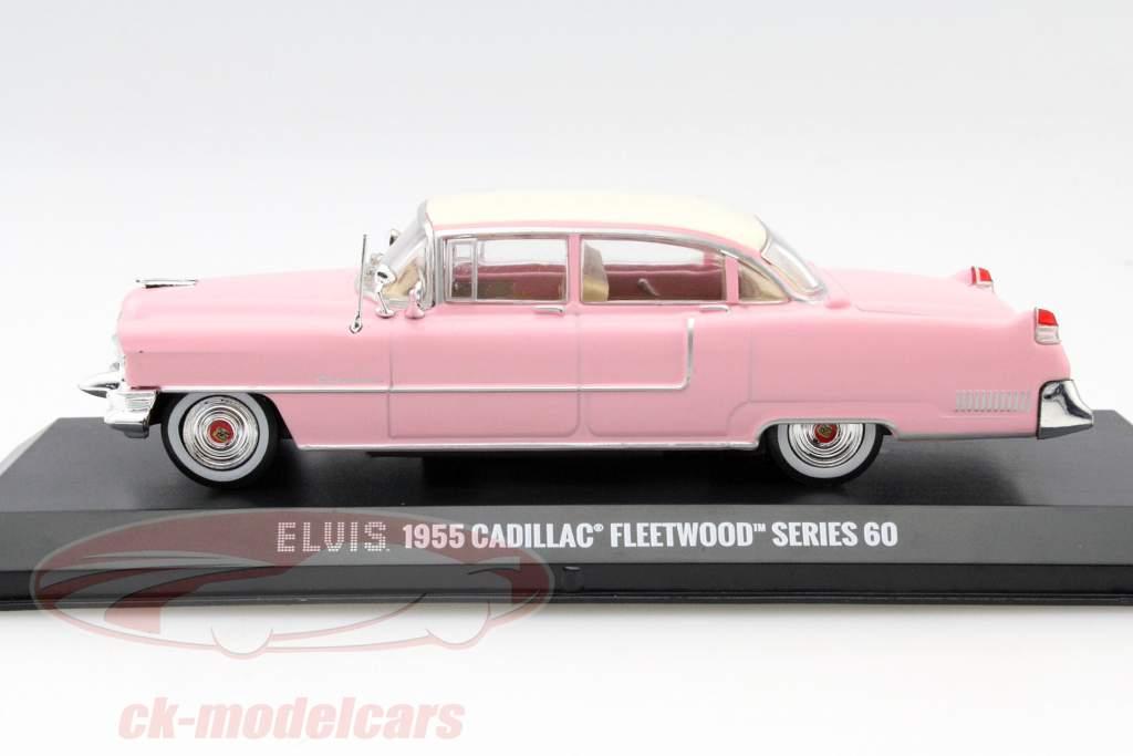 Cadillac Fleetwood Series 60 Elvis Presley år 1955 pink med hvid tag 1:43 Greenlight