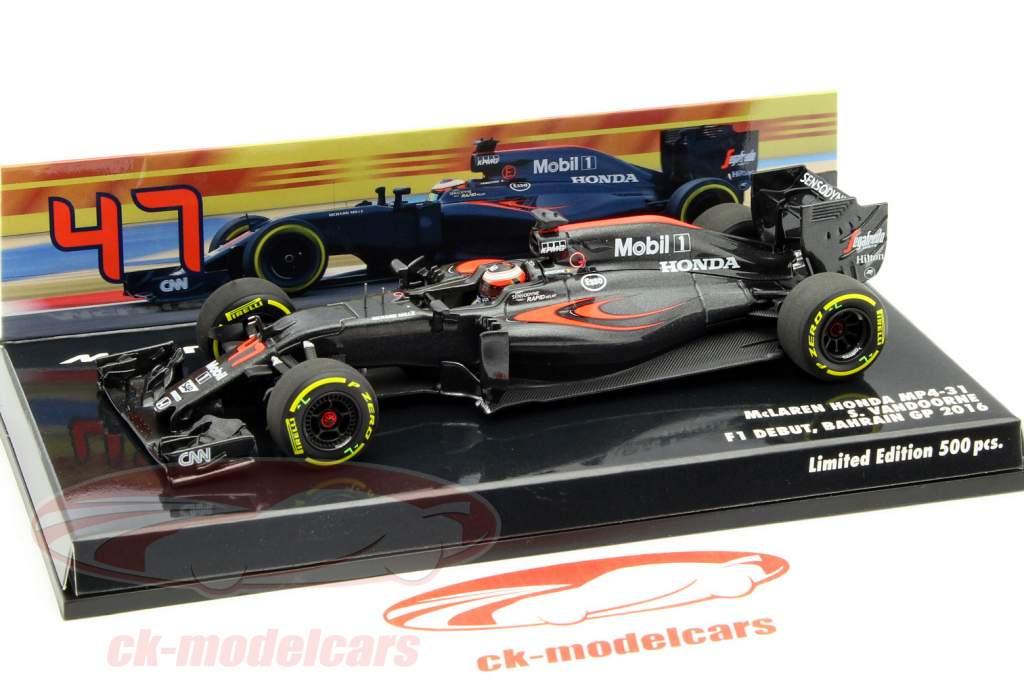 Stoffel Vandoorne McLaren MP4-31 #47 F1 debuut bahrein GP F1 2016 1:43 Minichamps