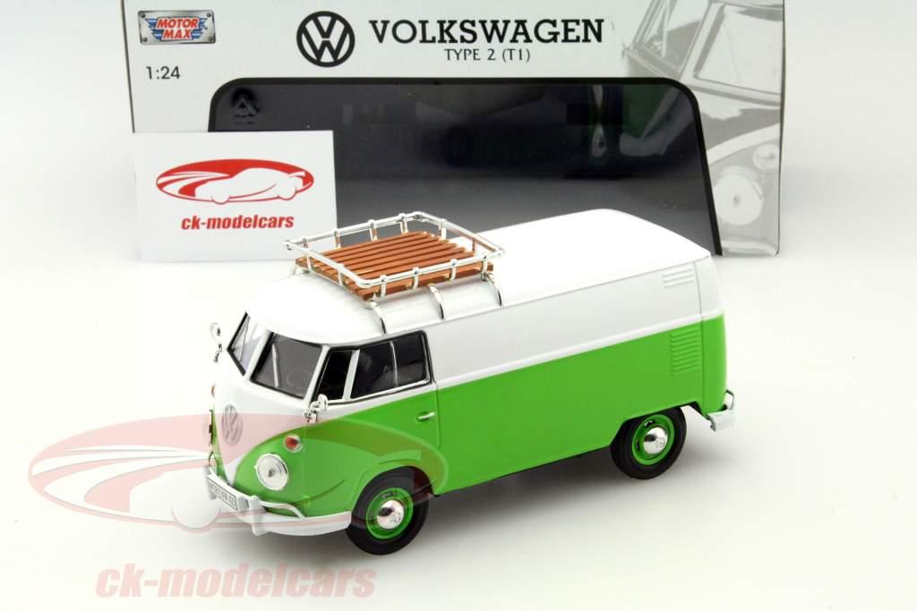 Volkswagen VW Type 2 T1 Transporter Polizei grün 1:24 Motor Max