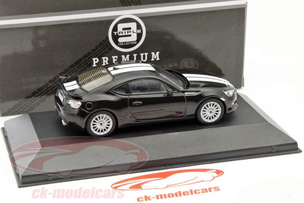 Subaru BRZ jaar 2013 zwart / wit 1:43 Triple 9